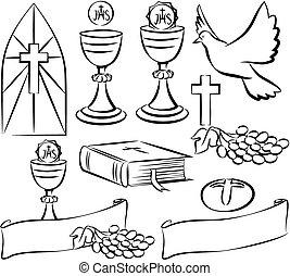 Heilige Kommunion - Vektorsymbole.