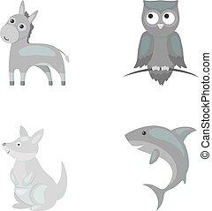 heiligenbilder, bestand, stil, k�nguruh, symbol, eule, shark., web., abbildung, esel, satz, sammlung, vektor, monochrom, tier