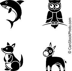 heiligenbilder, bestand, stil, k�nguruh, symbol, schwarz, eule, shark., web., abbildung, esel, satz, sammlung, vektor, tier