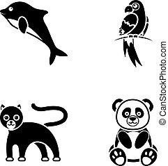 heiligenbilder, bestand, stil, symbol, popugay, schwarz, web., panther, abbildung, satz, dolphin., sammlung, vektor, panda., tier