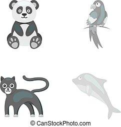 heiligenbilder, bestand, stil, symbol, popugay, web., panther, abbildung, satz, dolphin., sammlung, vektor, panda., monochrom, tier