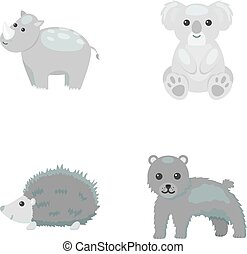 heiligenbilder, bestand, stil, symbol, web., hedgehog., panther, abbildung, satz, koala, sammlung, vektor, monochrom, nashörner, tier