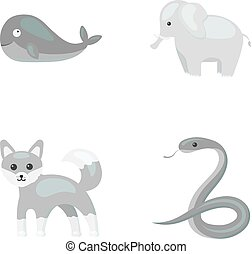 heiligenbilder, bestand, stil, symbol, web., schlange, abbildung, fox., satz, elefant, sammlung, vektor, monochrom, tier, wal