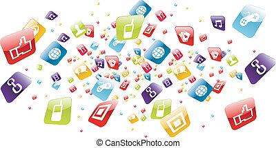 heiligenbilder, beweglich, global, apps, telefon, spritzen