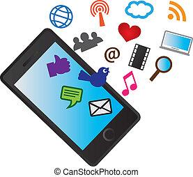 heiligenbilder, beweglich, medien, telefon, zellular, sozial