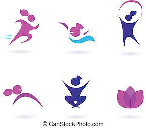 heiligenbilder, frauen, wohlfühlen, sport
