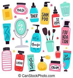 heiligenbilder, gezeichnet, abbildung, routine, werkzeuge, vektor, satz, gekritzel, tools., produkte, aufmachung, kosmetisch, skincare, schoenheit, hand