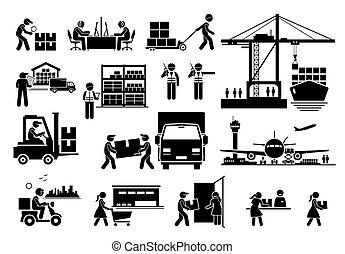 heiligenbilder, industriebereiche, schiffahrt, logistisch, import, set., export