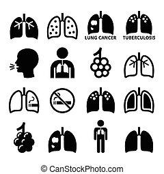 heiligenbilder, lungen, krankheit, satz, lunge
