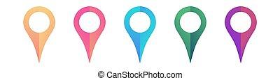heiligenbilder, ort, pointers., weißes, hell, freigestellt, hintergrund, satz, landkarte
