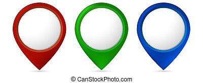 heiligenbilder, ort, pointers., weißes, hell, hintergrund., freigestellt, satz, landkarte