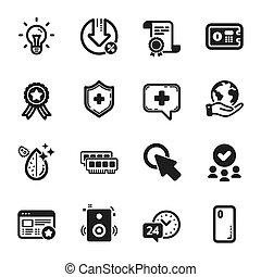 heiligenbilder, satz, solch, vektor, technologie, schutzschirm, hier klicken, idea., medizin