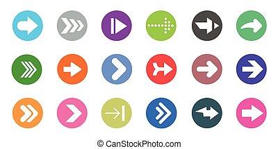 heiligenbilder, zeichen, form, taste, weißes, internet, pfeil, bunte, kreis, set., hintergrund.