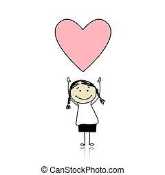 Heiliger Valentinstag - süßes Mädchen mit Herz