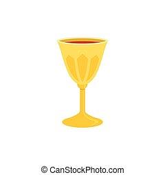Heiliges Gral-Ikone, Kelch mit Rotwein Illustration, flaches Design.