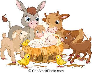 Heiliges Kind mit Tieren