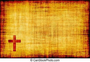 Heiliges Kreuz auf der Schriftrolle