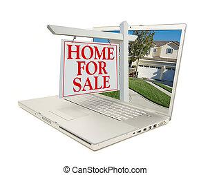 Heim für Verkaufszeichen & neues Zuhause auf Laptop