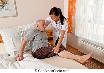 heime, krankenpflege, senioren, krankenschwester, antikisiert, sorgfalt