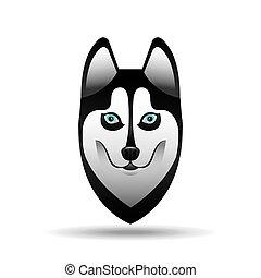 heiser, hund, design, sibirisch, gesicht
