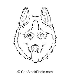 heiser, hund, sketch.
