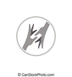 helfende hand, 3d, vektor, logo