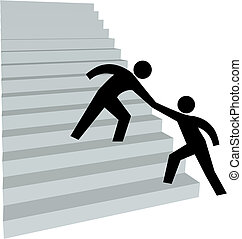Helfende Hand, um Freund auf der Treppe nach oben zu helfen