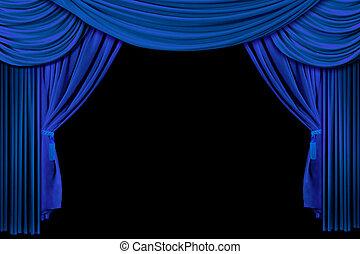 Hellblaue Bühnenvorhänge.