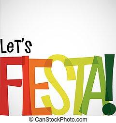 Helle typografische Fiesta-Karte im Vektorformat.