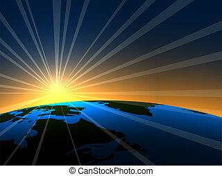 Heller Raum, Sonnenaufgang über der Erde