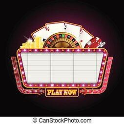 Helles Theater, glühendes Retro-Casino Neonzeichen.