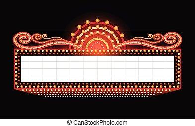 Helles Theater, glühendes Retrokino Neonschild.