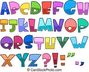 Helles Zeichentrick-Alphabet.
