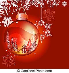 Hellrote Weihnachtsgeschichte mit Glasball