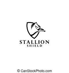 hengst, logo, pferd, schutzschirm, vektor, design