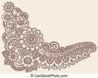 Henna mehndi doodles Vektor