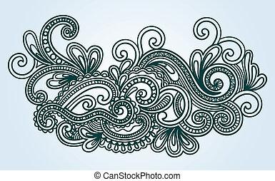 Henna Mendie-Frauen-Doodle Vektor-Illustration
