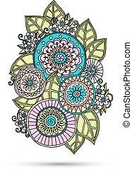 Henna paisley mehndi doodles abstraktes Blumenvektor-Darstellung Element.