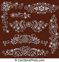 Henna-Reben und Blumengrenzen sind gesetzt