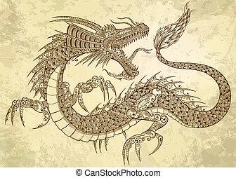 Henna Tätowierung Drachen Doodle Vektor.