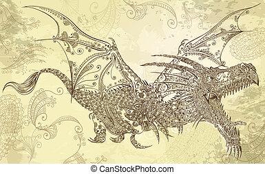 Henna-Tattoo-Drachenvektorkunst