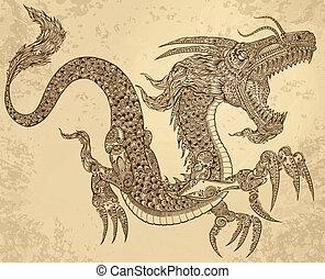 Henna Tattoo-Tätowierungs-Drachenvektor
