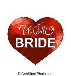 henne, dusche, braut, oder, mannschaft, partei., bachelorette, wedding, rotes , design., braut, heart., polygonal, text