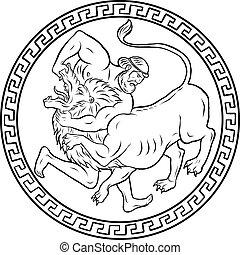 herakles, nemean, lion., 12, herkules, labours