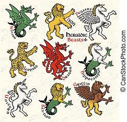 Heraldische Bestien. Vector Illustration.
