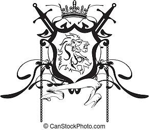 Heraldischer Löwe Kopf Crest Tattoo5.