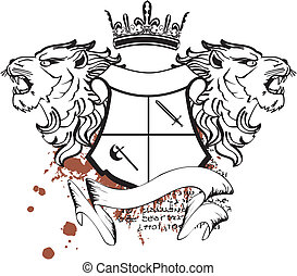 Heraldischer Löwe Kopf Crest Tattoo7.