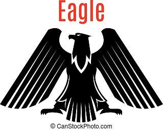 Heraldisches schwarzes Adler-Vektorzeichen