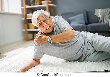 herbst, älterer mann, unterkleid, älter