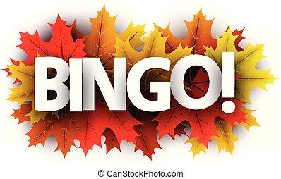 Herbst-Bingo-Schild mit Farb-Ahornblättern.